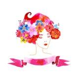 Meisje met bloemen in haar haar stock illustratie