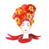 Meisje met bloemen in uw haar vector illustratie