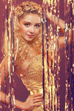 Meisje met blond krullend haar Stock Foto