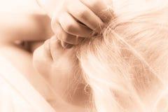 Meisje met blondehaar - droombeeld stock afbeeldingen