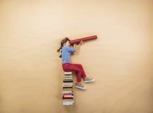 Meisje met boeken Stock Foto