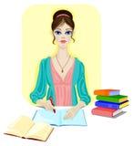 Meisje met boeken, pen en leeg notitieboekje Stock Afbeeldingen