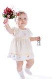 Meisje met boeket van bloemen royalty-vrije stock afbeelding