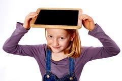 Meisje met bord Stock Fotografie