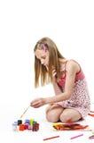 Meisje met borstel Stock Foto
