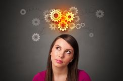 Meisje met brainstormingsconcept royalty-vrije stock afbeeldingen