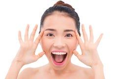Meisje met brede geopende mond Stock Foto's