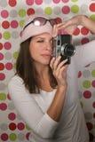 Meisje met camera Stock Afbeelding
