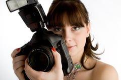 Meisje met camera Stock Foto