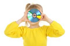 Meisje met CD Stock Afbeelding