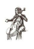 Meisje met cello stock illustratie