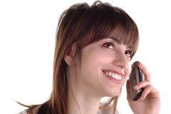 Meisje met cellphone Stock Foto