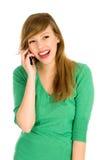 Meisje met celtelefoon stock afbeelding