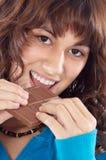 Meisje met chocolade Stock Foto