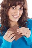 Meisje met chocolade Stock Fotografie