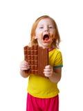 Meisje met chocolade Stock Afbeelding
