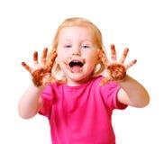 Meisje met chocolade dat op wit wordt geïsoleerdw Stock Afbeeldingen