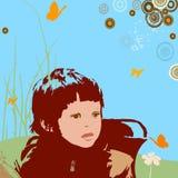 Meisje met cirkels Stock Afbeeldingen