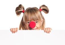 Meisje met clownneus Royalty-vrije Stock Afbeeldingen