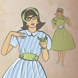 Meisje met cocktail in retro stijl royalty-vrije illustratie