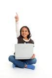 Meisje met Computer Stock Afbeeldingen