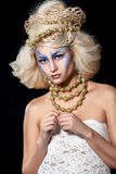 Meisje met creatief gezichtsart. Royalty-vrije Stock Foto