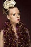 Meisje met creatieve sparkly stijl Stock Afbeelding