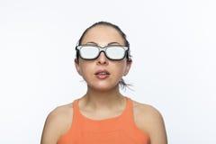 Meisje met 3D glazen Royalty-vrije Stock Afbeeldingen