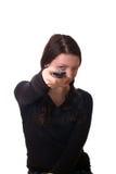 Meisje met de afstandsbediening van TV. Stock Fotografie