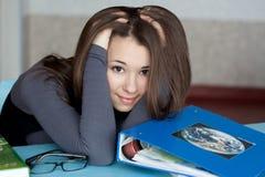 Meisje met de boeken Stock Foto's