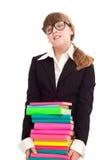 Meisje met de boeken van de stapelkleur royalty-vrije stock foto