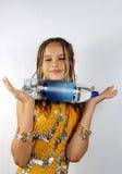 Meisje met de fles stock foto