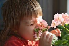 Meisje met de grappige bloemen van de gezichts ruikende lente Stock Foto's