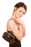 Meisje met de handtas van dames Stock Foto's