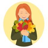 Meisje met de herfstbladeren Royalty-vrije Stock Afbeeldingen