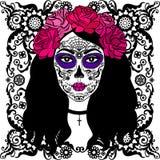 Meisje met de make-up van de suikerschedel Mexicaanse Dag van de Doden Stock Foto's