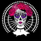 Meisje met de make-up van de suikerschedel Mexicaanse Dag van de Doden Stock Afbeeldingen