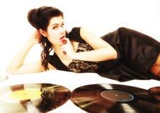 Meisje met de muziekminnaar van phonography analoge verslagen Royalty-vrije Stock Foto's