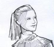 Meisje met de schets van het paardestaartpotlood Stock Foto's
