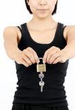 Meisje met de sleutel Stock Foto's