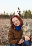 Meisje met de Terriër van Yorkshire Royalty-vrije Stock Foto