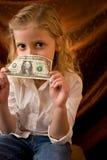 Meisje met dollar Royalty-vrije Stock Afbeeldingen