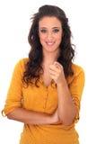 Meisje met donker haar op witte achtergrond Stock Fotografie