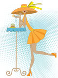 Meisje met drank stock illustratie
