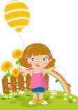 Meisje met een ballon Stock Afbeelding