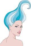 Meisje met een blauw haar Stock Foto's