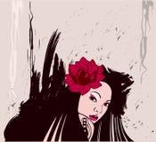 Meisje met een bloem in haar haar royalty-vrije illustratie