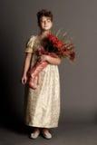 Meisje met een boeket Stock Afbeelding