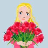 Meisje met een boeket van schitterende rode tulpen De stijl van het beeldverhaal royalty-vrije illustratie