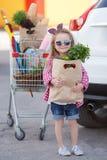 Meisje met een boodschappenwagentjehoogtepunt van kruidenierswinkels dichtbij de auto Stock Foto